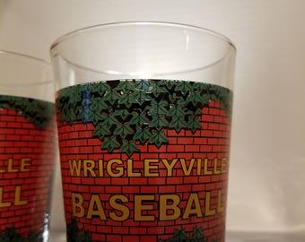 """Set of 2 16 oz Miller Lite Chicago Cubs Wrigley Field Wrigleyville Baseball 6"""" PINT GLASS."""