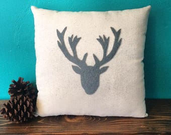 "13"" x 13"" Natural Cotton Pillow with Deer Head Silhouette Appliqué-Elk Head-Choose Your Color- Woodland-Cabin-Winter/Holiday Decor"