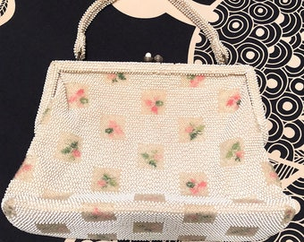 Vintage 1950s Lumured Petite Bead Clear White Bead Purse with Floral Detail Formal Evening Bag Bead Strap MCM Retro Wedding Prom