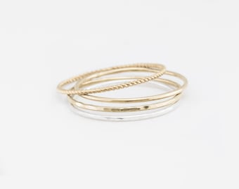 Ultra délicates empilage anneaux • Extra fines bandes empilables • anneaux Simple, délicat • fait à la main or ou argent bague personnalisée par GLDN • Aire bague