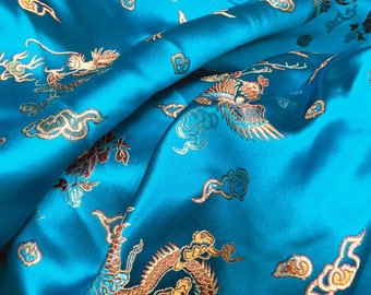 Hope TURQUOISE Dragon Brocade Chinese Satin Fabric by the Yard - 10040