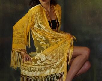 Sunflower silk velvet burnout fringe kimono  / long flowing warm golden yellow luxury duster / shimmering Stevie Nicks jacket