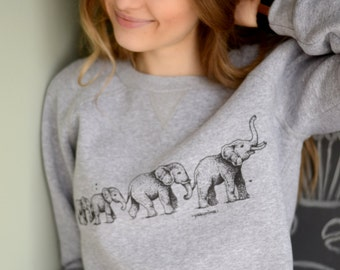 Girlfriend Gift for her Elephant sweatshirt Unisex print sweatshirt Comfort color gray sweatshirt Graphic sweatshirt Women clothing