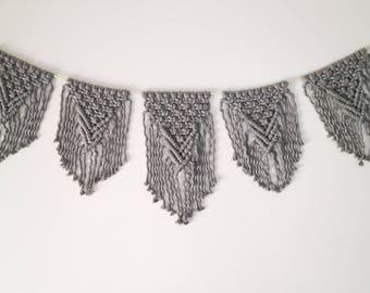 BUNTING - Macrame Bunting (modern wall hanging, grey macrame, nursery art, party decor)