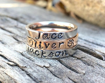 Stacking Rings, Stacking Name Ring, Stackable Personalized Ring, Mothers Ring, Personalized Mothers Ring, Custom Jewelry, Hand Stamped Ring
