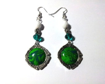 "Earrings ""PC Green Marbled 1"""