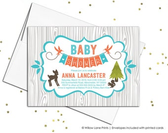 Woodland baby shower invitations with animals | neutral baby shower invites | gray, orange and teal | printable or printed - WLP00709