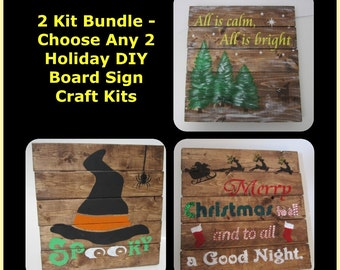 Christmas Craft / Holiday Craft Project - DIY Holiday Board Sign Craft Kit Bundle - Choose Any 2 of Our DIY Holiday Board Sign Craft Kits
