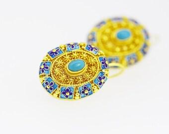 Kallaite Filigree Enamel Earrings-Silver Good Plated Earrings-Handcrafted-Tibet Blue-gift for women