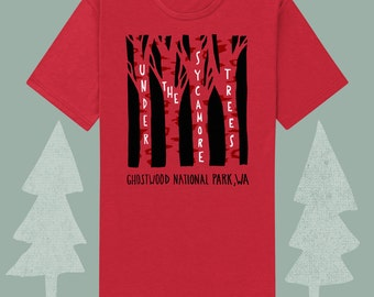 under the sycamore trees twin peaks themed mens shirt