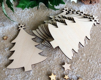 Wooden Christmas Tree Decorations ornaments, Gift Tags, Blank Shapes
