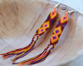 Embroidered earrings, colorful, fun and lightweight.