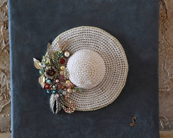 Pearl Hat with Costume Jewelry