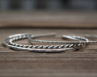 Sterling Silver Cuff Bracelets (3), Open Bangle Bracelet, Stacking Bracelet, Delicate Skinny Cuff, Textured Silver Cuff, Minimalist Jewelry