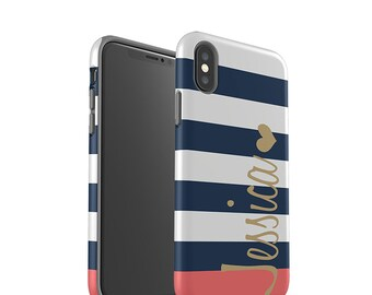 iPhone 8 Case, iPhone X, iPhone 7 Case, iPhone 7 Plus Case, Samsung Galaxy S8 Plus Case, Galaxy S7 Case, Galaxy S8 Case, Navy Blue Stripes