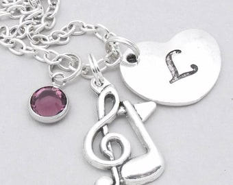 Music note heart initial necklace | musical note necklace | music note pendant | personalised music necklace | musical symbol jewelry