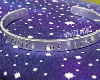 Look for STARS - Hand-stamped Aluminium Cuff - Inpirational, Motivational, Uplifting, Gift