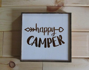 Happy Camper with arrow.  Wooden sign for camper.  Gift for camper.  RV decor, rv gift.  Made to order sign for camping.