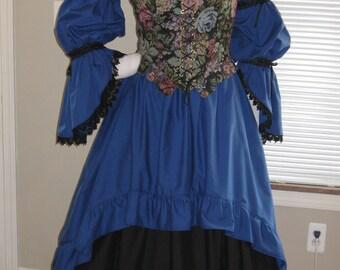 DDNJ Choose Color Burlesque Victorian Style Hi Lo Chemise OverSkirt Renaissance Goth Pirate Witch Vampire Costume Lolita Anime Cosplay LARP