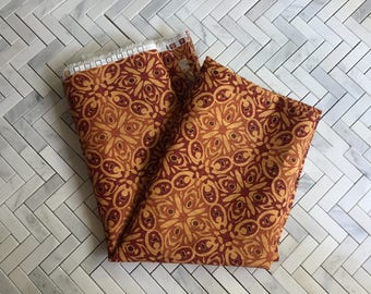 Orange Red Batik Cotton Canvas Fabric 2 Yards