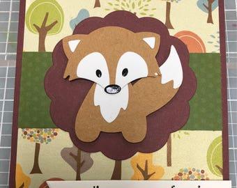 Handmade fox thinking of you card