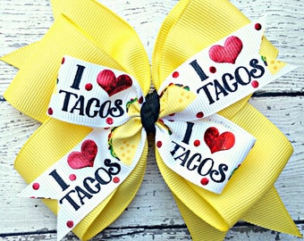 Taco Hair Bow, Taco Hair Clip, I Love Tacos, I Heart Tacos, Taco Tuesday, Funny Hair Bow, Taco Headband, Hair Bows for Girls, Gift for Girl