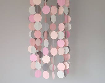 Pink and Grey Baby Mobile, Paper mobile, Nursery Decor, Cot Mobile, Baby Room, Pink, BabyGirl, Baby Shower Gift, Baby Decoration, Hanging,