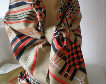 1970's vintage ladies  headscarf/head square - YORN boutique - geometric lines/strips - black/red/orange & white.