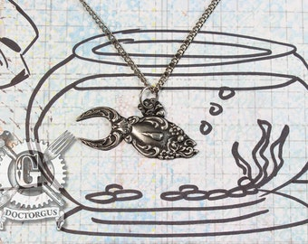 Goldfish Necklace -  Inspired by Antique Victorian Silverware - Doctorgus Handmade Jewelry Creations - Steampunk Boho Style Fish Pendant