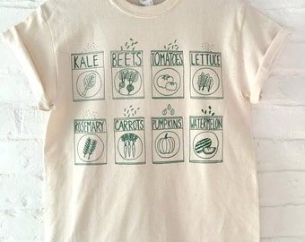 Garden T-Shirt, Gardening Gift, Kale Shirt, Screen Print Shirt, Clothing Gift, Foodie Gift