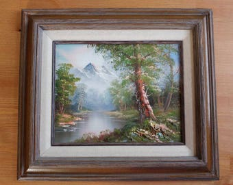 M.Scott ORIGINAL framed OIL PAINTING on Canvas Mountain River Landscape 3D Art Nature Paysage Picture Wall home decor Country Living Room