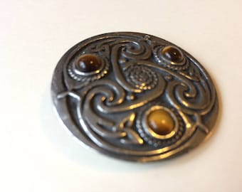 43mm Solid Pewter celtic Knot Brooch/ Shawl Pin Tigers Eye