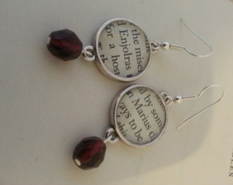 Les Miserables Enjolras and Marius Book Page Earrings
