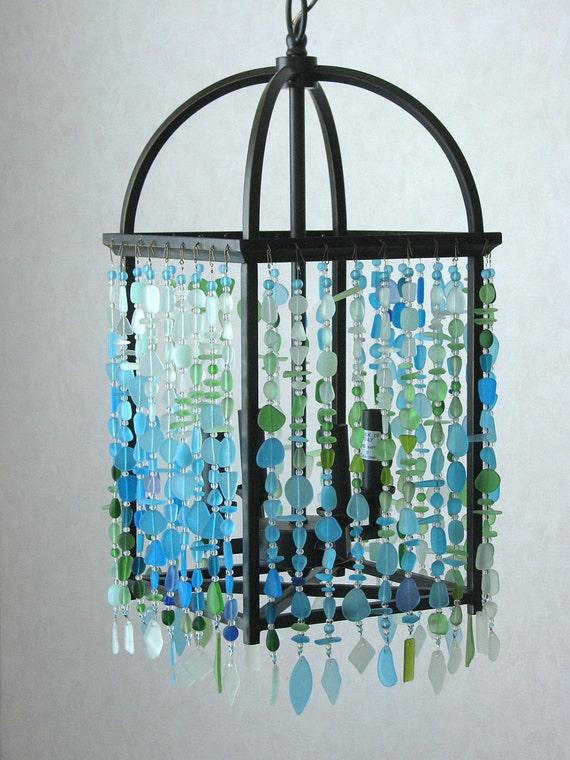 Sea glass chandelier ceiling fixture foyer light coastal