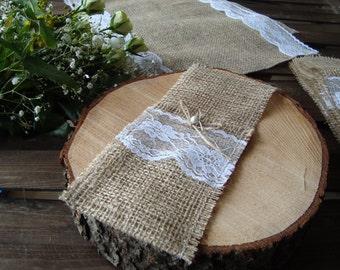 Set of 10 burlap holders, rustic wedding decor, white lace, Burlap utensil pocket, Cottage Chic holders