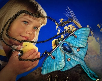 Fantasy tooled leather luna moth necklace with blue labradorite - Moon moth pendant - Handmade artisan jewelry - Original gift for her