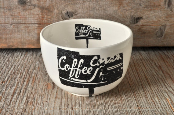 Porcelain soup bowl with vintage COFFEE SHOP sign