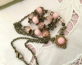 Pink antique style brass romantic necklace vintage style pink brass necklace