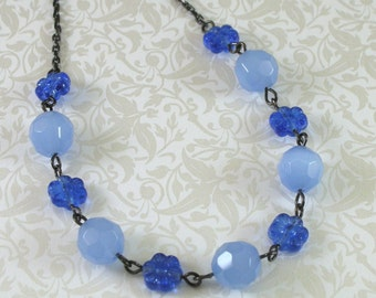 Ice Flower Blue Vintage-Style Necklace