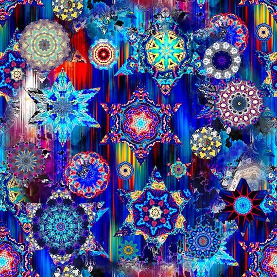 Textile Artist Made Decor Kona Cotton Fabric Quilting Kaleidoscope Blue Sky Stars