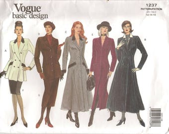 90s Vogue Basic Design 1237 Sewing Pattern Semi-fitted Dress Top Skirt Size 12-16