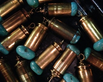 Bullet & Natural Turquoise Pendant Dangle Charm DIY Bullets