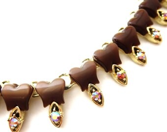 1950's Unmarked Vintage Gold Tone Metal Brown Lucite / Thermoset & AB Aurora Borealis Rhinestone Link Extendable Choker Necklace