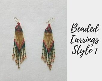 Beaded Earrings, Dangle Earrings, Boho Earrings, Seed Bead Earrings, Bead Earrings, Statement Earrings, Long Earrings, Bohemian Earrings