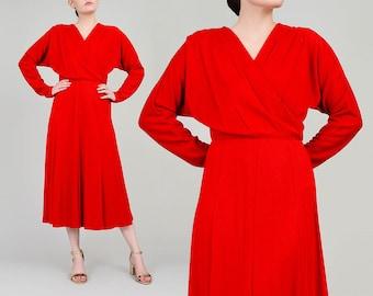 80s Red Dress | Knit Sweater Dress | V Neck Wrap Dress | Dolman Sleeve Midi Dress | Minimalist Retro Dress | Holiday Party Dress | Small S