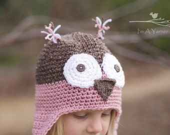 Pink Owl Hat, Pink Crochet Beanie, Handmade Gift, First Birthday Hat, Woodland Animal, Earflap Hat, Take Home Outfit, Baby Shower Gift