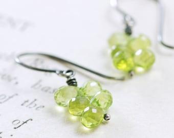 Peridot Earrings in Sterling Silver, August Birthstone Jewelry, Green Gemstone Cluster Earrings, aubepine