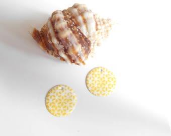 x 2 sequins round yellow white