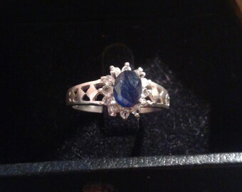 Natural Blue Sapphire White Zircon  accented Sterling Silver Engagement Ring