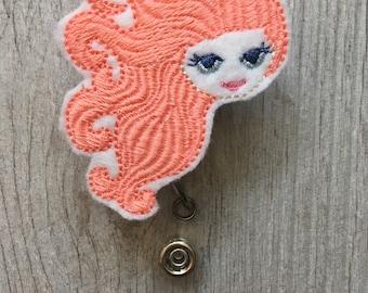 Mermaid Head  Badge Reel - Mermaid Badge Reel Feltie - Interchangeable Badge Reel - Retractable Badge Reel - Summer badge Reel